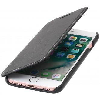 Etui iPhone 7 book type noir nappa en cuir véritable sans clip de fermeture - Stilgut