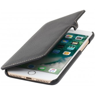 Etui iPhone 7 Plus book type noir en cuir véritable - Stilgut