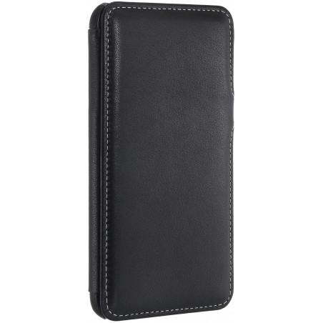 Etui iPhone 7 Plus book type noir nappa en cuir véritable - Stilgut