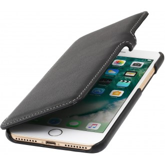 Etui iPhone 7 Plus book type noir nappa en cuir véritable - Stilgut