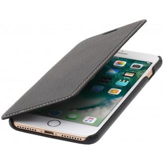 Etui iPhone 7 Plus book type noir en cuir véritable sans clip de fermeture - Stilgut