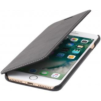 Etui iPhone 7 Plus book type noir nappa en cuir véritable sans clip de fermeture - Stilgut