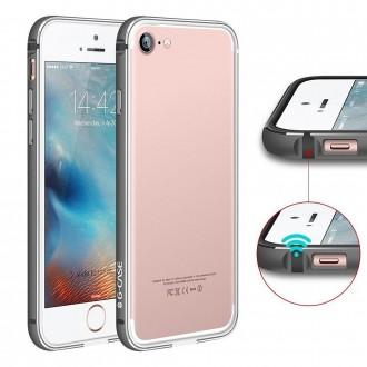 Bumper Bi-matière iPhone 7 contour Noir et Gris - G-Case