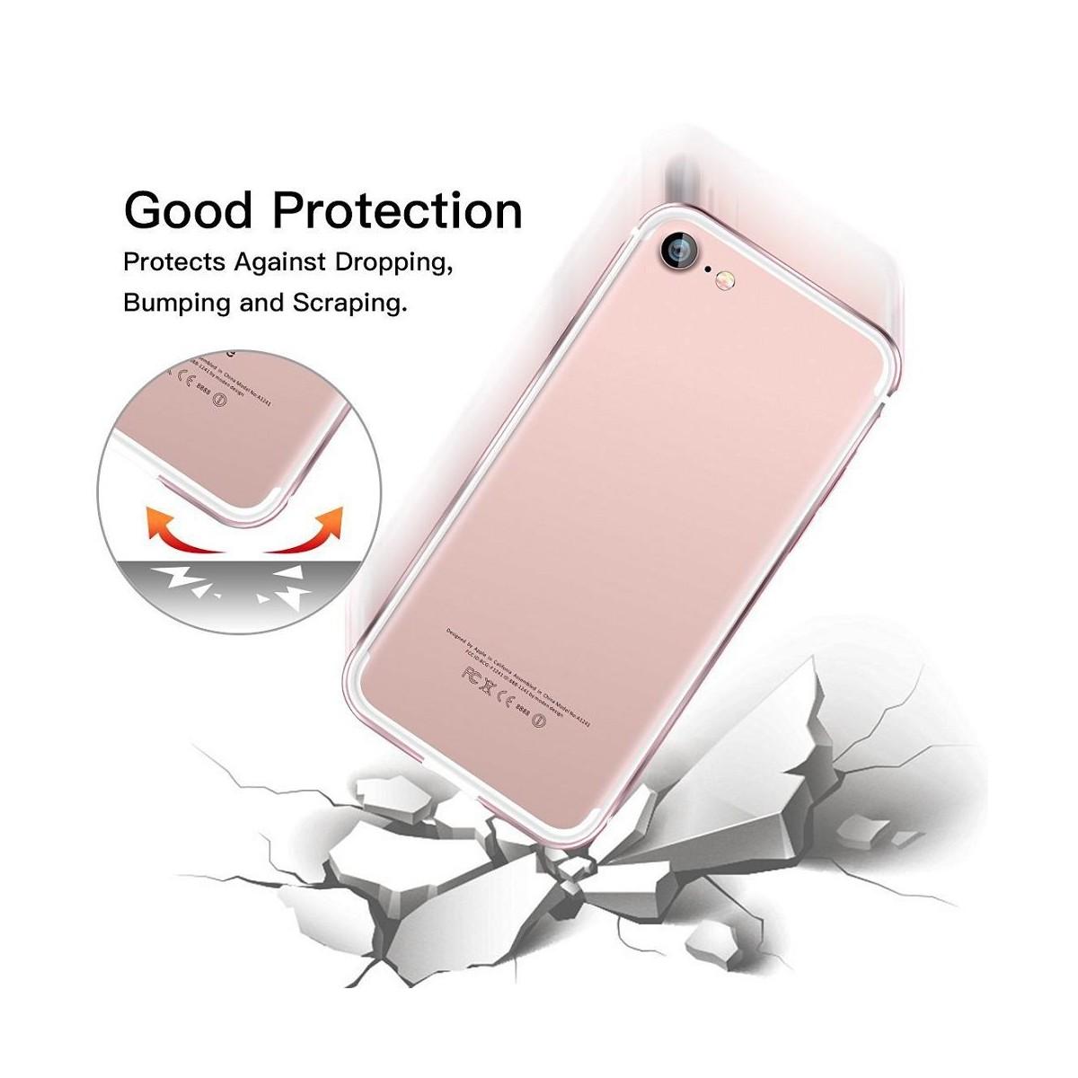 Bumper Bi-matière iPhone 7 contour Blanc et Rose - G-Case