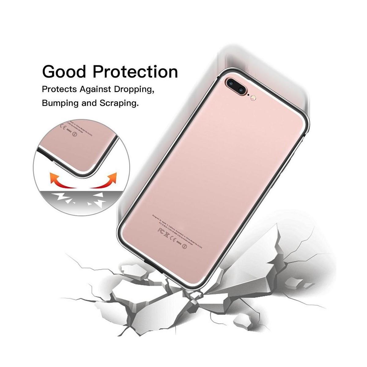 Bumper Bi-matière iPhone 7 Plus contour Noir et Gris - G-Case
