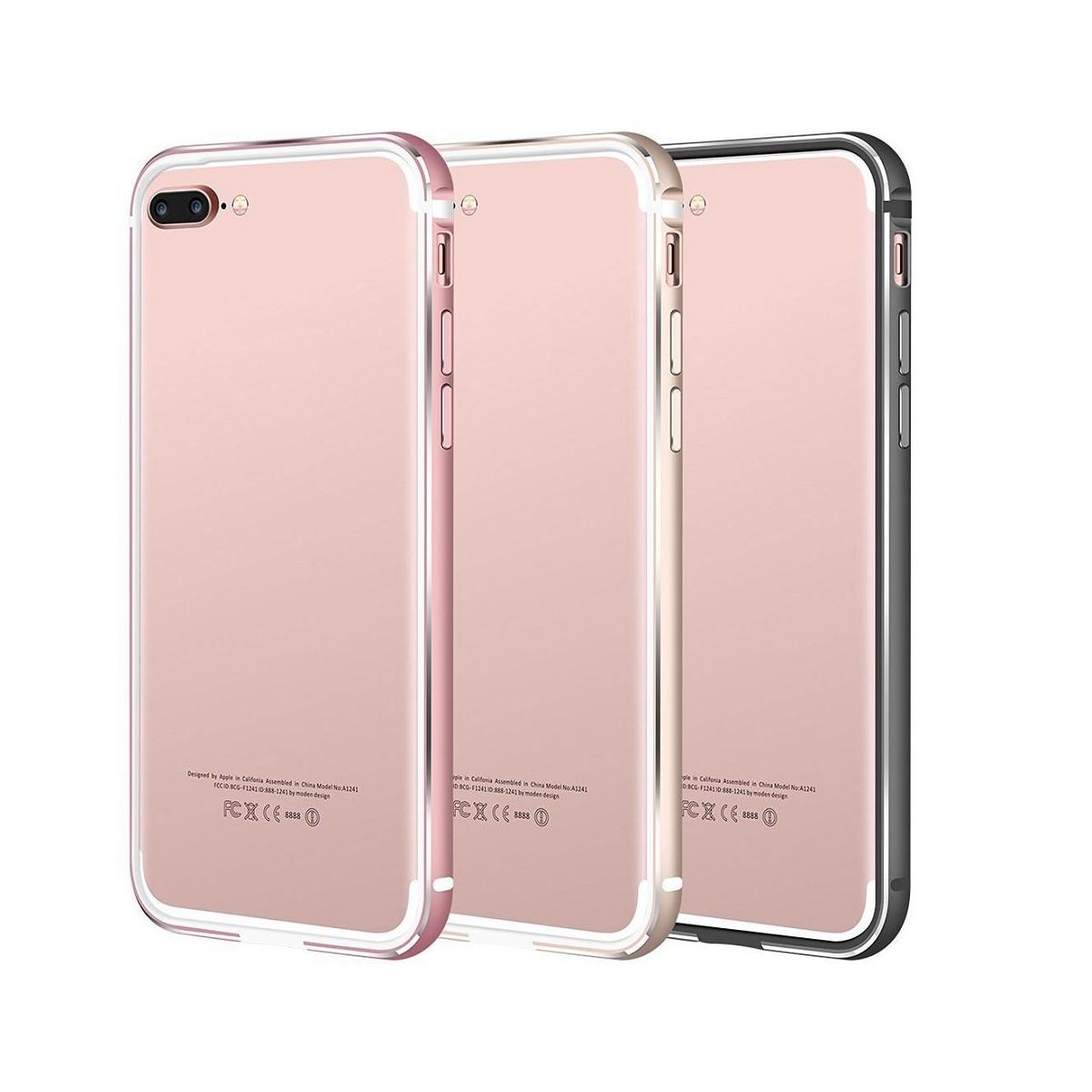 Bumper Bi-matière iPhone 7 Plus contour Blanc et Rose - G-Case