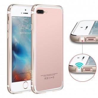 Bumper Bi-matière iPhone 7 Plus contour Blanc et Doré - G-Case