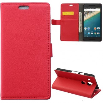 Etui LG Google Nexus 5X portecartes rouge - Crazy Kase