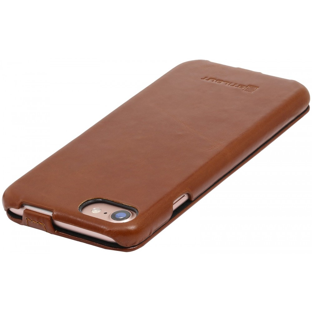 Etui iPhone 7 ultraslim cognac en cuir véritable - Stilgut