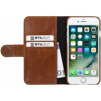 Etui iPhone 7 Porte-cartes Cognac en cuir véritable - Stilgut