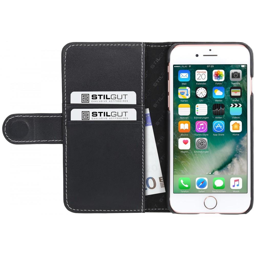 Etui iPhone 7 Portecartes Noir Nappa en cuir véritable - Stilgut
