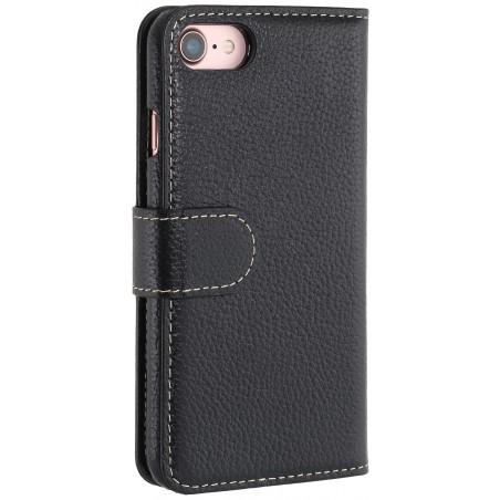 Etui iPhone 7 Porte-cartes grainé noir en cuir véritable - Stilgut