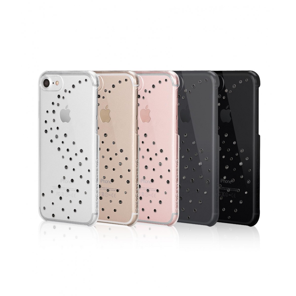 Coque iPhone 7 Milky Way Starry Night Strass Cristal et Noir Swarovski - Bling My Thing