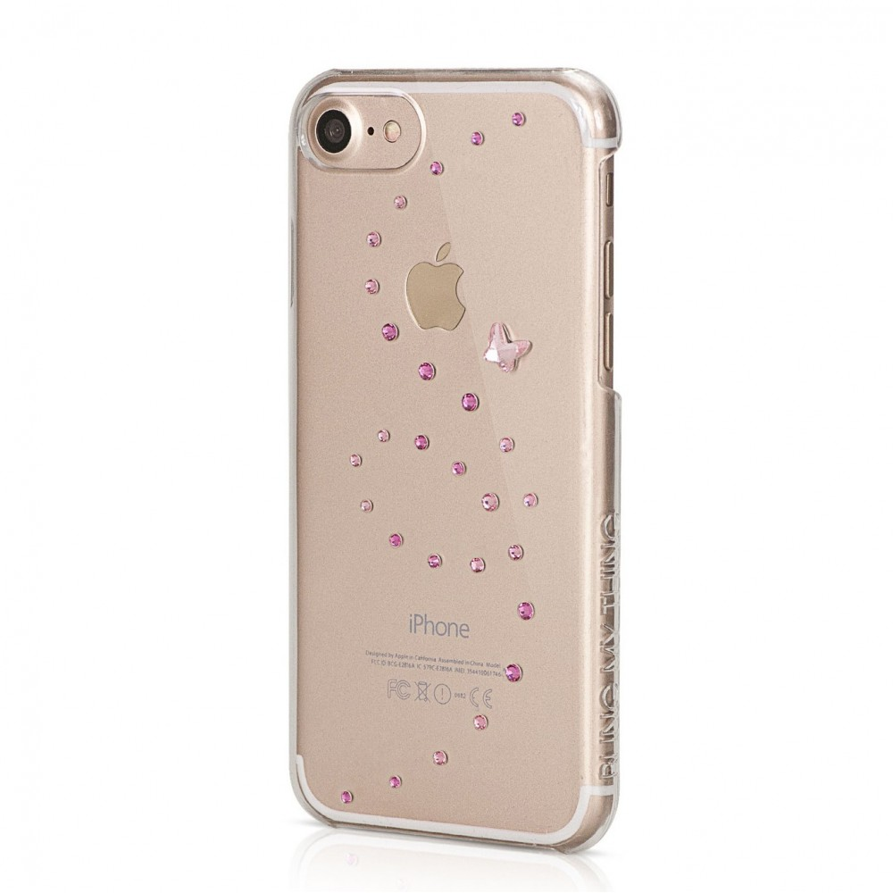 Coque iPhone 7 Papillon Rose Sparkles Strass Roses Swarovski - Bling My Thing