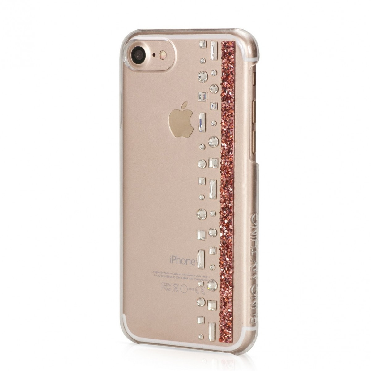 Coque iPhone 7 Hermitage Rose Gold Strass Cristal et Rose Swarovski - Bling My Thing