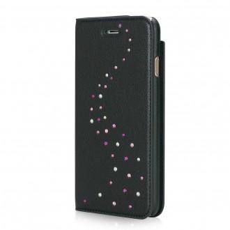 Etui iPhone 7 Primo Milky Way Rose Sparkles en cuir véritable et strass Swarovski - Bling My Thing