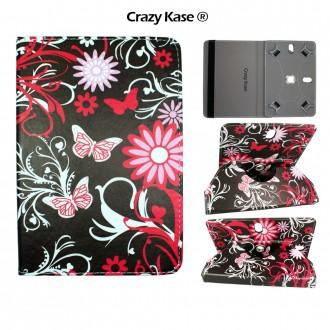 Etui tablette universel 8 pouces rotatif 360° motif Papillons et Fleurs - Crazy Kase