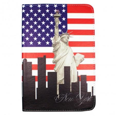 Etui tablette universel 9 pouces rotatif 360° motif Drapeau USA et Statue de la Liberté  - Crazy Kase