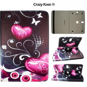 Etui tablette universel 9 pouces rotatif 360° motif Cœurs et Papillons - Crazy Kase
