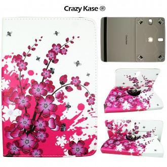 Etui tablette universel 9 pouces rotatif 360° motif fleurs japonaises - Crazy Kase