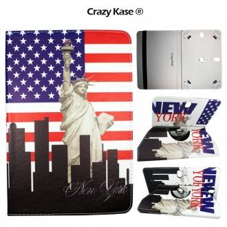 Crazy Kase - Etui tablette universel 10 pouces rotatif 360° Motifs Drapeau USA et Statue de la Liberté