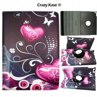 Etui iPad Air 2 Rotatif 360° motif Coeurs et Papillons - Crazy Kase