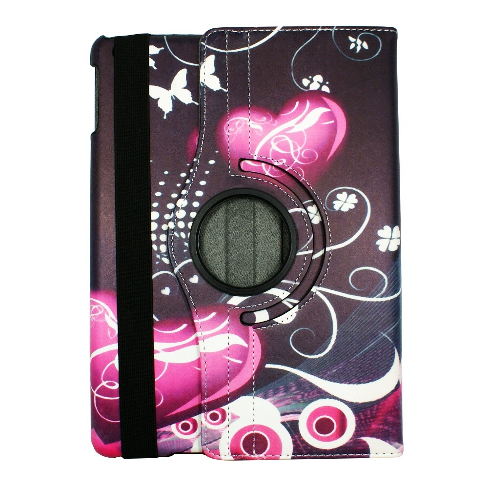 Etui iPad Air rotatif 360° motif Cœurs et Papillons - Crazy Kase