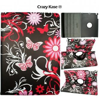 Etui iPad Air rotatif 360° motif Papillons et Fleurs - Crazy Kase