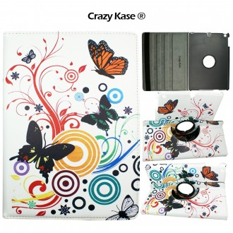 Etui iPad Air rotatif 360° motif Papillons et Cercles - Crazy Kase