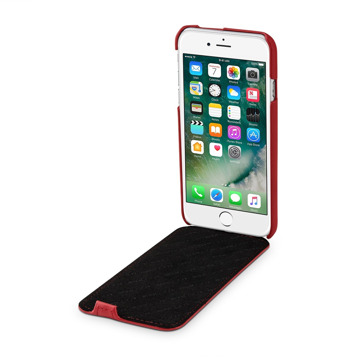 Etui iPhone 7 ultraslim rouge nappa en cuir véritable - Stilgut