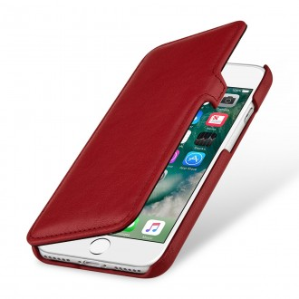 Etui iPhone 7 book type rouge nappa en cuir véritable - Stilgut