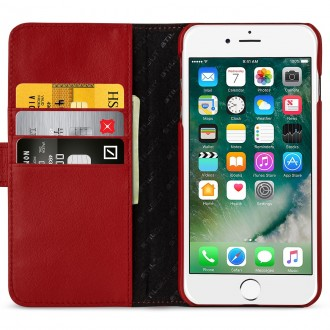 Etui iPhone 7 Plus Porte-cartes rouge nappa en cuir véritable - Stilgut