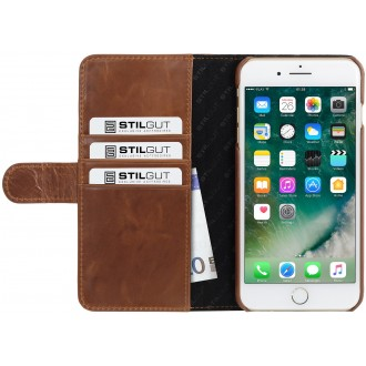 Etui iPhone 7 Plus Porte-cartes cognac en cuir véritable - Stilgut