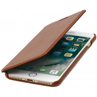 Etui iPhone 7 Plus book type cognac en cuir véritable sans clip de fermeture - Stilgut