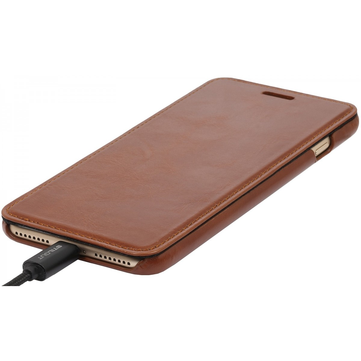 Etui iPhone 7 Plus book type cognac en cuir véritable sans clip de fermeture - Stilgut