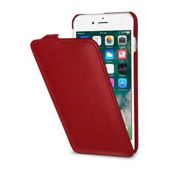 Etui iPhone 7 Plus ultraslim rouge en cuir véritable - Stilgut
