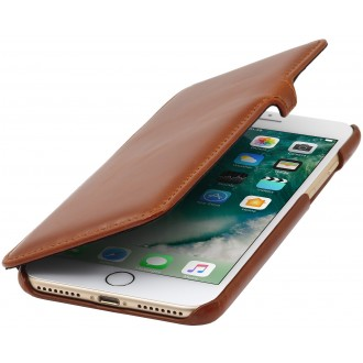 Etui iPhone 7 Plus book type cognac en cuir véritable - Stilgut