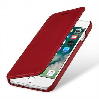 Etui iPhone 7 book type rouge nappa en cuir véritable sans clip de fermeture - Stilgut