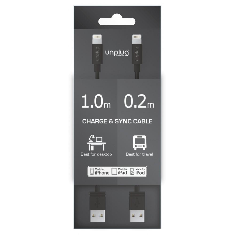 Pack de 2 Câbles USB vers Lightning Noir 1m et 20cm - Unplug