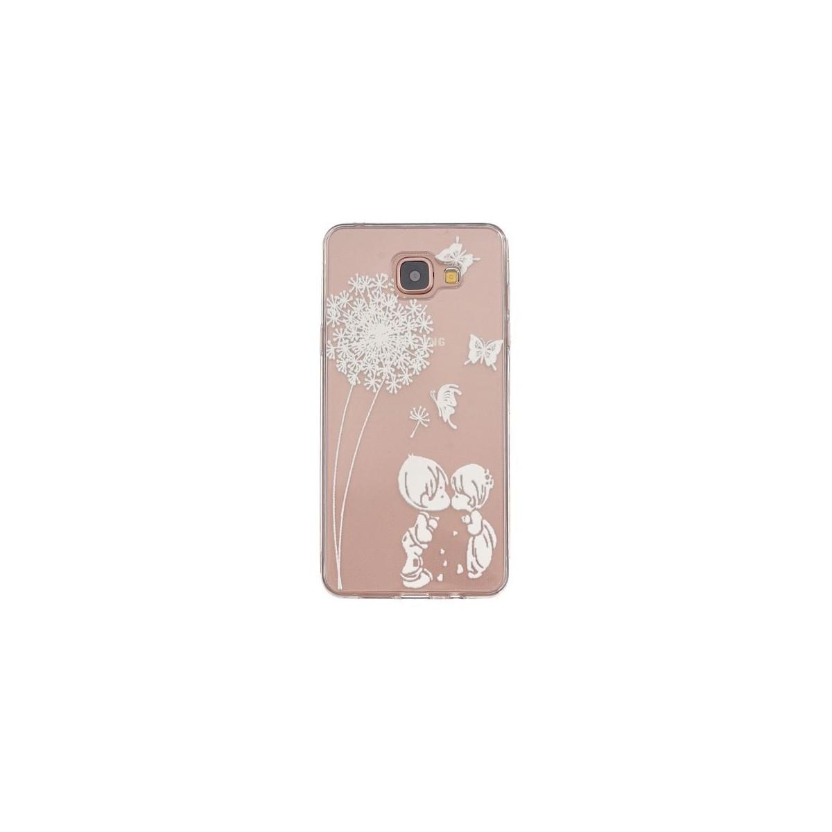 Coque Galaxy A3 (2016) Transparente souple motif Fleurs et Papillons blancs - Crazy Kase