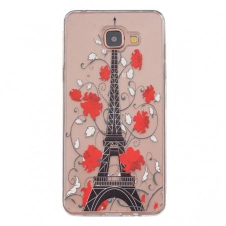 Coque Galaxy A3 (2016) Transparente souple motif Tour Eiffel et Fleurs Rouges - Crazy Kase
