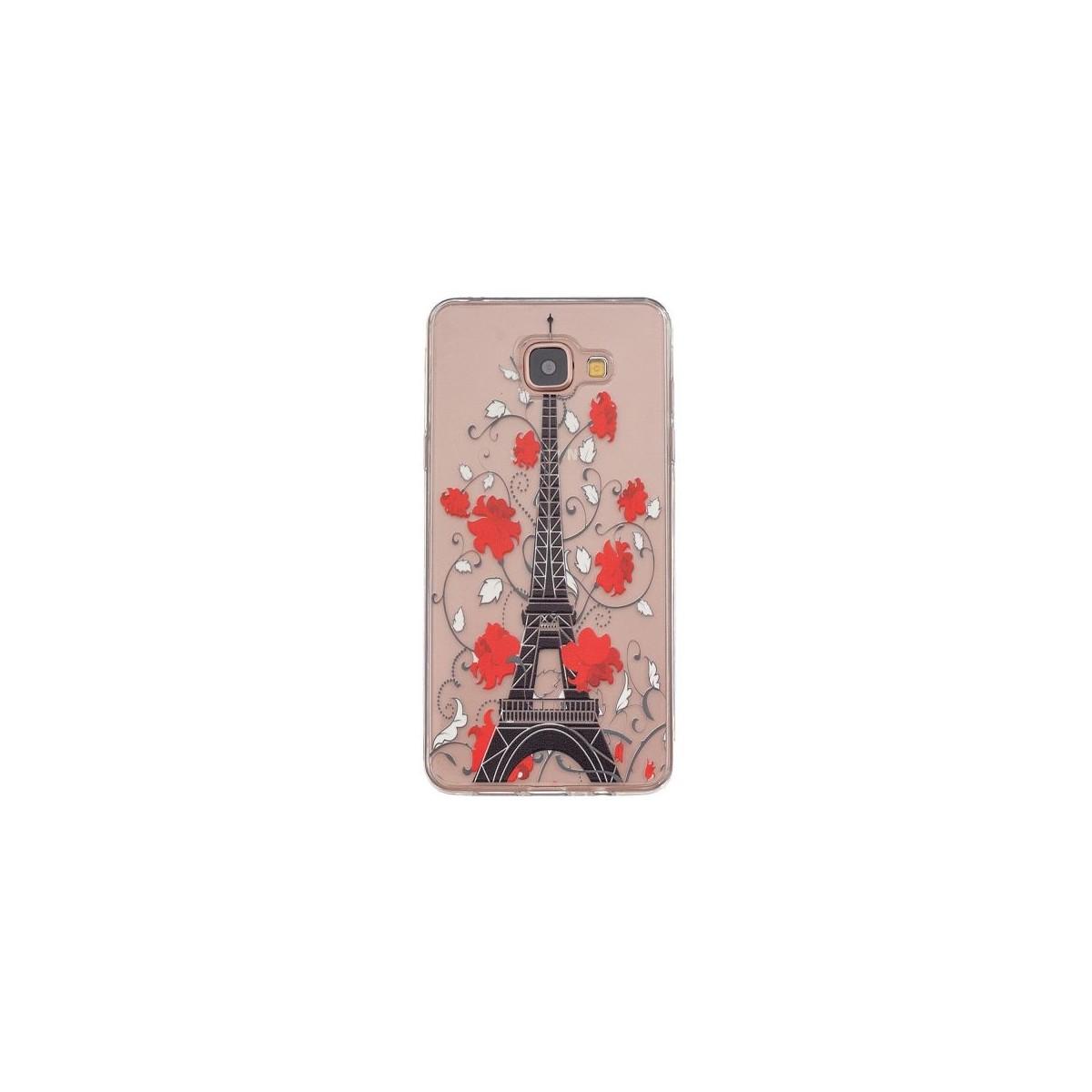 Coque Galaxy A5 (2016) Transparente souple motif Tour Eiffel et Fleurs Rouges - Crazy Kase