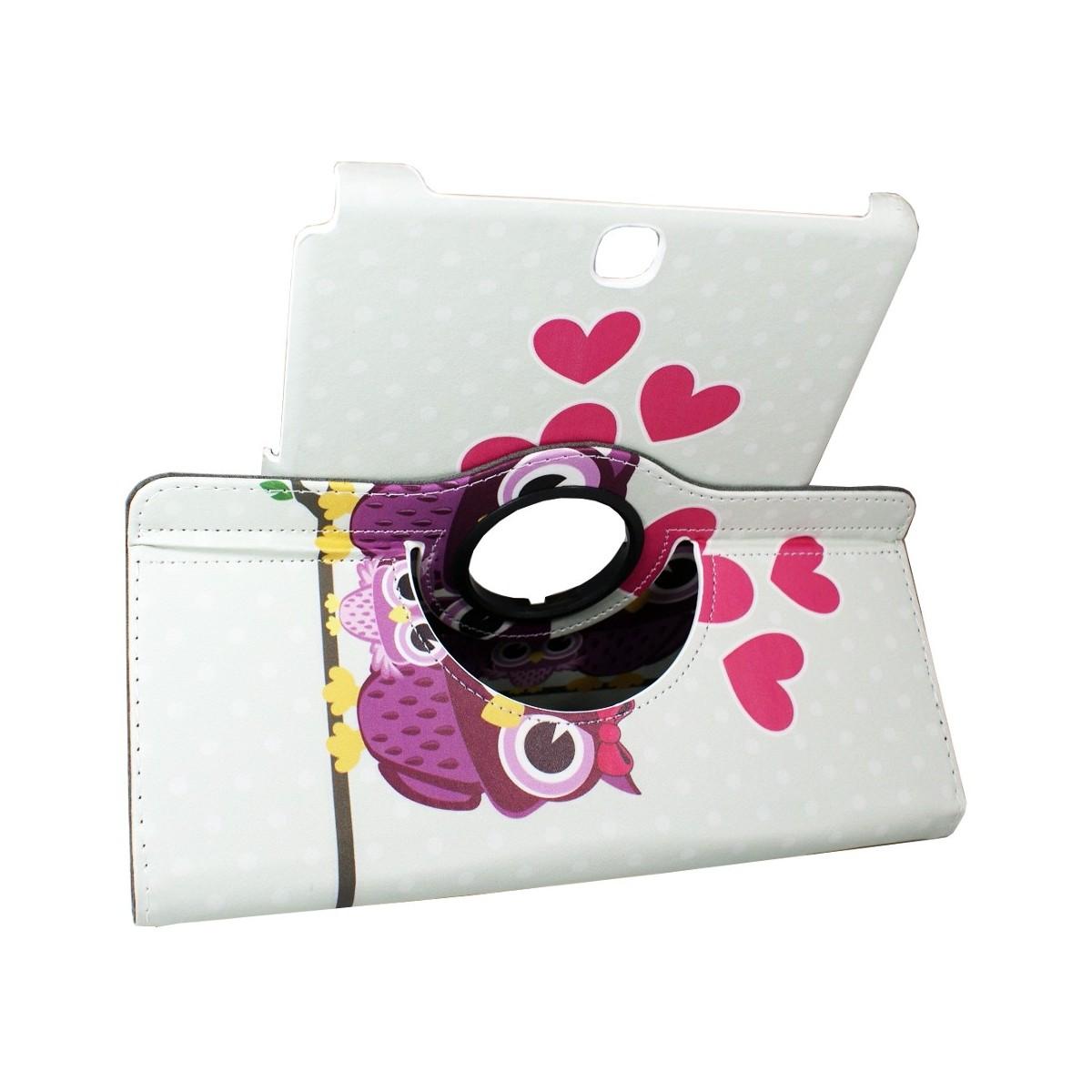 Etui Samsung Galaxy Tab A 9.7 Rotatif 360°motif Couple de Chouette - Crazy Kase