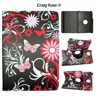 Etui Samsung Galaxy Tab A 9.7 Rotatif 360° motif Papillons et Fleurs - Crazy Kase