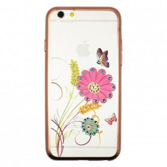 Coque iPhone 6 / 6s Transparente Fleurs Papillons et Strass - Dita