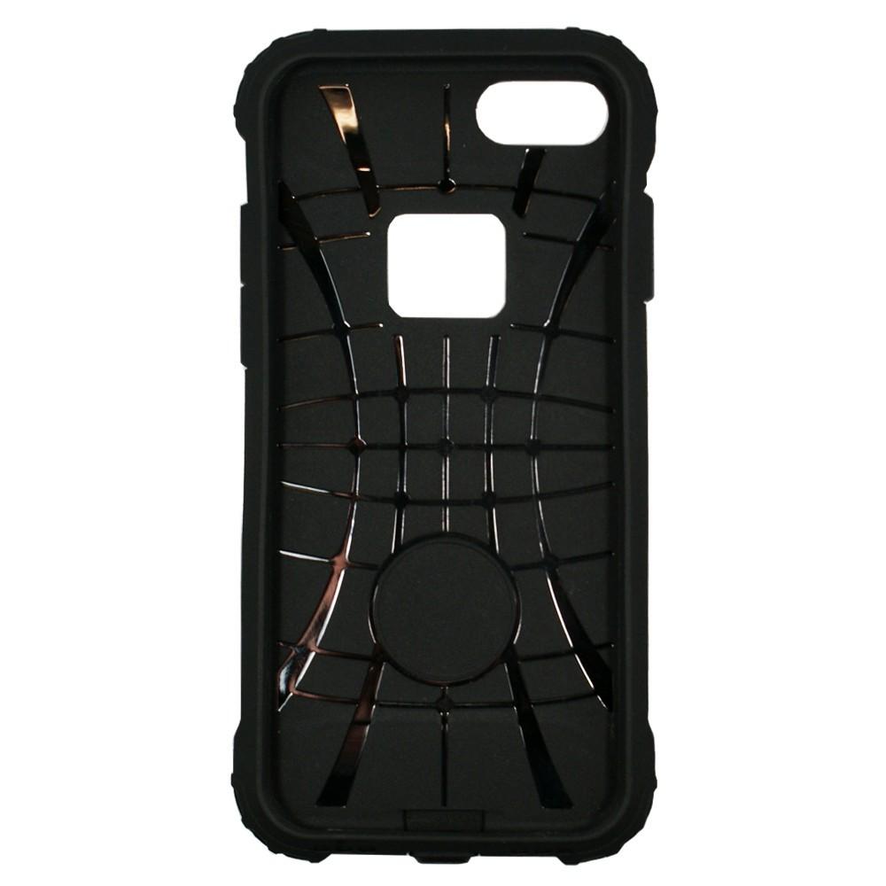 Coque antichoc iPhone 7 Bi-matière Noire et Argent - Crazy Kase