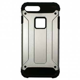 Coque antichoc iPhone 8 Plus/7 Plus Bi-matière Noire et Argent - Crazy Kase