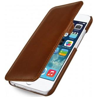 Etui iPhone 6S book type cognac en cuir véritable - Stilgut
