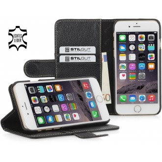 Etui iPhone 6 / 6S porte-cartes noir en cuir véritable - Stilgut