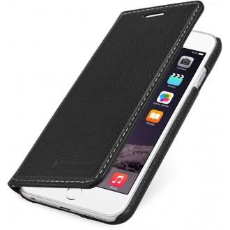 Etui iPhone 6 / 6S portefeuille noir en cuir véritable sans clip de fermeture - Stilgut